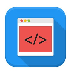 Coding browser app icon with long shadow vector image