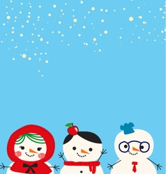 Cute snowmen family cartoon vector