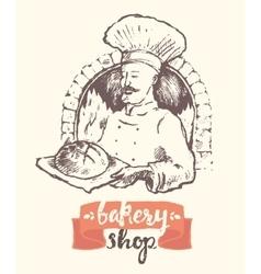 Hand drawn baker man bakery shop sketch vector image