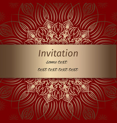 invitation in red and gold colours vector image