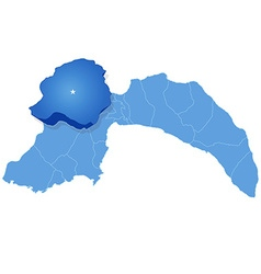 Map of antalya - korkuteli is pulled out vector