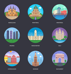 Pack of world cities 7 vector