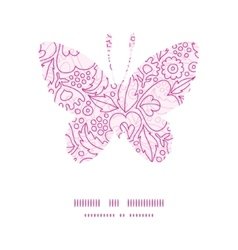 Pink flowers lineart butterfly silhouette vector