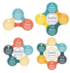Set of business circle info graphic diagram vector image