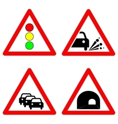 Set of traffic signs Traffic lights gravel road vector image vector image