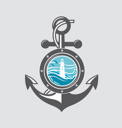 ship anchor and porthole vector image vector image