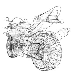 Sport motorcycle technical wire-frame vector