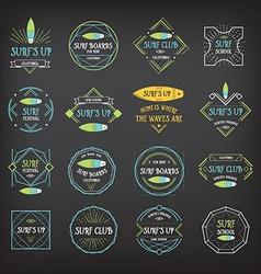 Surf vintage elements retro logo board hawaii vector