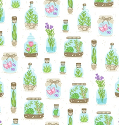 Terrariums on white background seamless pattern vector image vector image