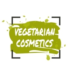 Vegetarian cosmetics hand drawn isolated label vector