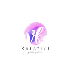 Vk watercolor letter logo design with purple vector