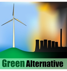Wind Power vs Carbon Power vector image vector image
