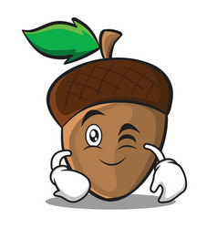 Wink acorn cartoon character style vector