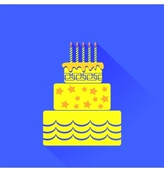 Yellow birthday cake icon vector