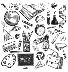 Sketch doodles back to school background vector