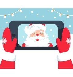 Santa claus taking selfie photo with phone vector