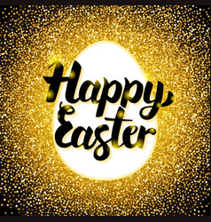 Happy easter gold greeting vector
