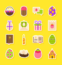 Happy easter holiday stickers vector