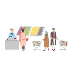 concept for supermarket or shop different people vector image