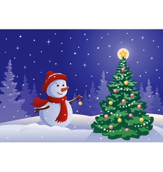 Snowman decorating a tree vector