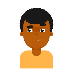 Confuse facial expression of black boy avatar vector