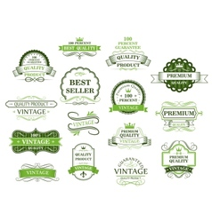 Green labels and banners vector