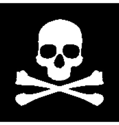 Pixel skull and bones vector