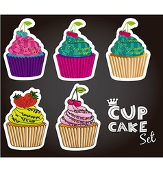 Set of cupcakes of different styles and colors vector