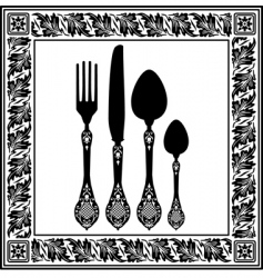 retro cutlery vector image