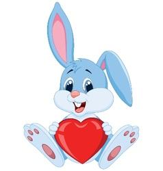 Cute rabbit cartoon holding red heart vector image