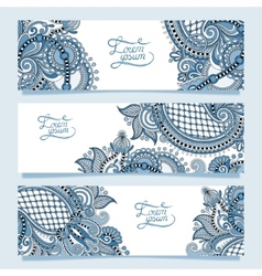 Set of three horizontal banners with decorative vector