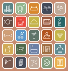 Hotel line flat icons on orange background vector