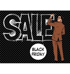 Black friday businessman writes sale vector