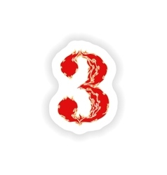 Sticker fiery font red number 3 on white vector
