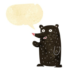 Cartoon waving black bear with speech bubble vector