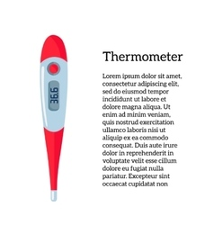 One red thermometer to measure body temperature vector