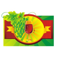 Vignette with a glass of wine vector image