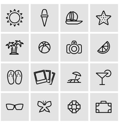 Line summer icon set vector