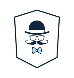 Shield with hat glasses mustache bowtie icon vector