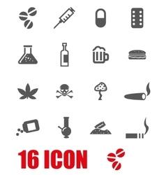 Grey drugs icon set vector
