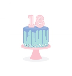 Birthday cake with glaze and number candles vector