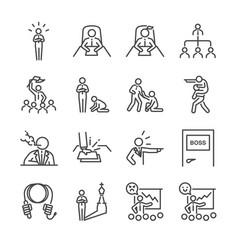 Boss line icon set vector