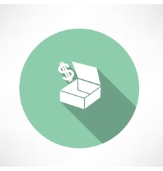 box with dollars vector image vector image