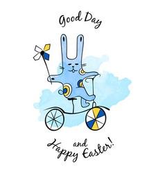 Cartoon easter bunny with bike vector