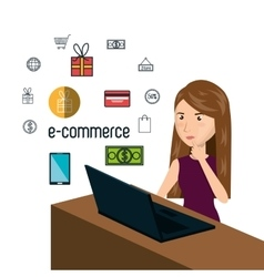 Cartoon woman thinking e-commerce isolated design vector