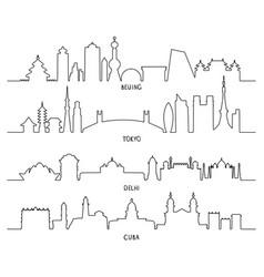 city landmarks beijing tokyo new delhi cuba vector image vector image
