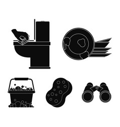 Cleaning and maid black icons in set collection vector