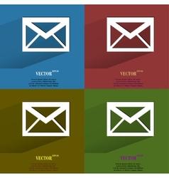 Color set mail envelope flat modern web button vector