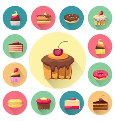 Confectionery set of isolated cakes icons with vector