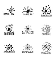 dandelion icons set simple style vector image